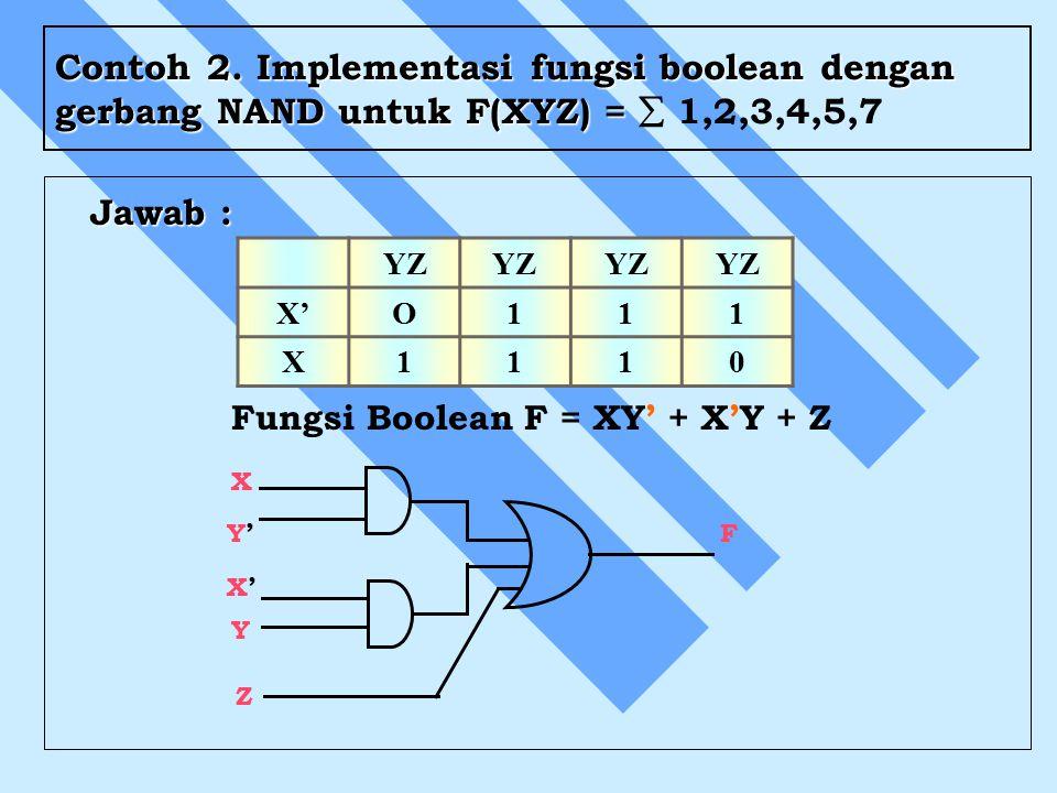 Contoh 2. Implementasi fungsi boolean dengan gerbang NAND untuk F(XYZ) = Contoh 2. Implementasi fungsi boolean dengan gerbang NAND untuk F(XYZ) =  1,