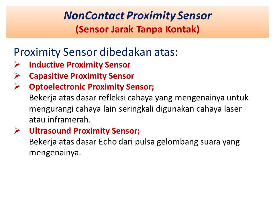NonContact Proximity Sensor (Sensor Jarak Tanpa Kontak) NonContact Proximity Sensor (Sensor Jarak Tanpa Kontak) Proximity Sensor dibedakan atas:  Ind