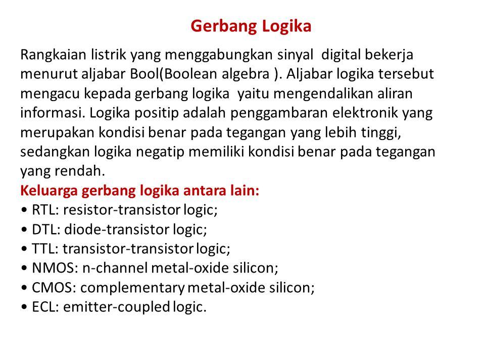 Rangkaian listrik yang menggabungkan sinyal digital bekerja menurut aljabar Bool(Boolean algebra ). Aljabar logika tersebut mengacu kepada gerbang log