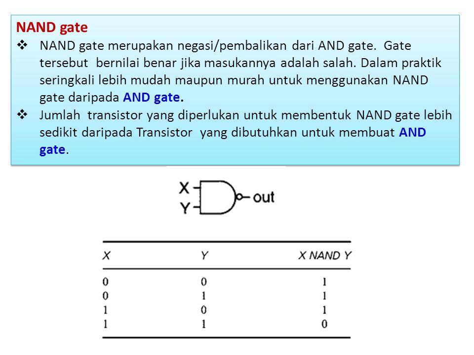 NAND gate  NAND gate merupakan negasi/pembalikan dari AND gate. Gate tersebut bernilai benar jika masukannya adalah salah. Dalam praktik seringkali l