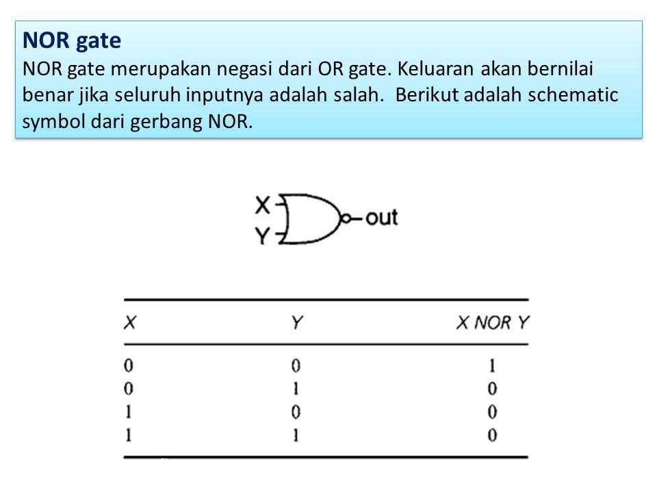 NOR gate NOR gate merupakan negasi dari OR gate. Keluaran akan bernilai benar jika seluruh inputnya adalah salah. Berikut adalah schematic symbol dari