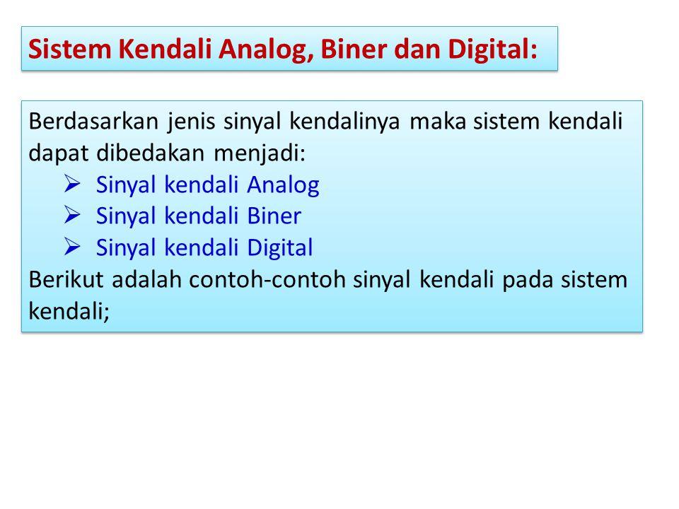 Sistem Kendali Analog, Biner dan Digital: Berdasarkan jenis sinyal kendalinya maka sistem kendali dapat dibedakan menjadi:  Sinyal kendali Analog  S