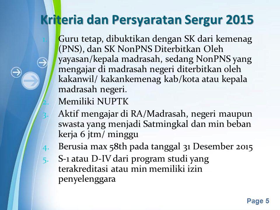 Powerpoint Templates Page 5 Kriteria dan Persyaratan Sergur 2015 1. Guru tetap, dibuktikan dengan SK dari kemenag (PNS), dan SK NonPNS Diterbitkan Ole