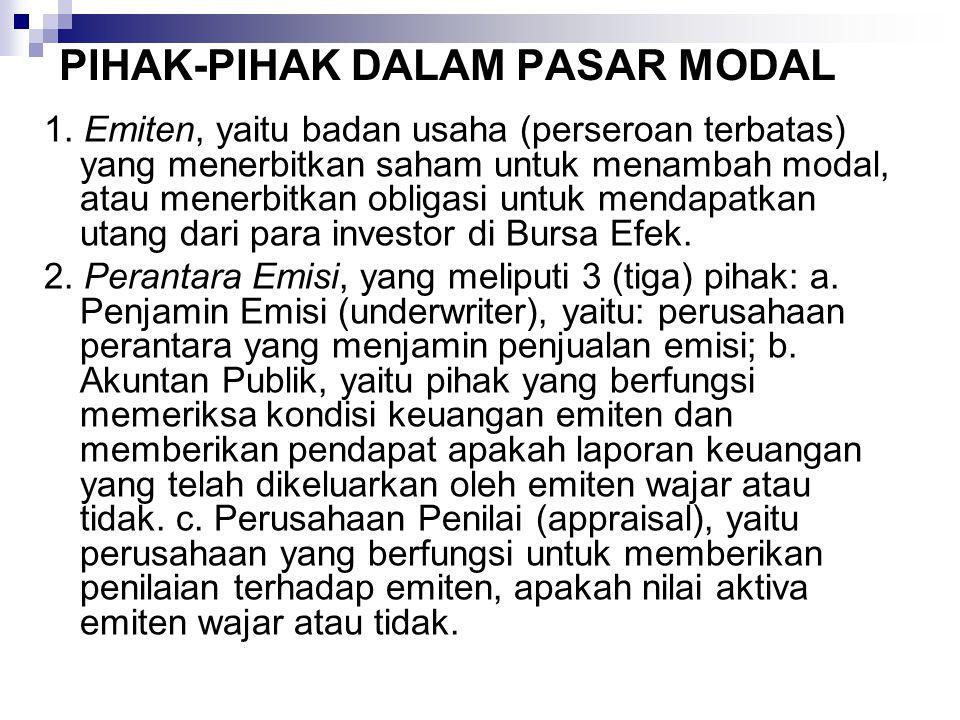 PIHAK-PIHAK DALAM PASAR MODAL 1.