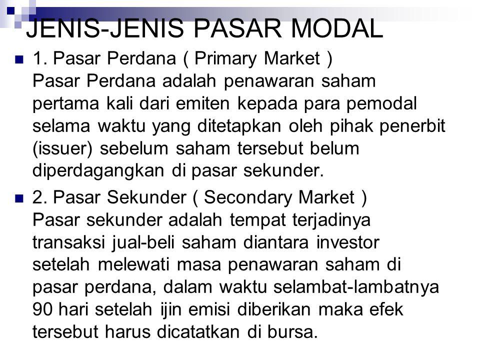JENIS-JENIS PASAR MODAL 1.