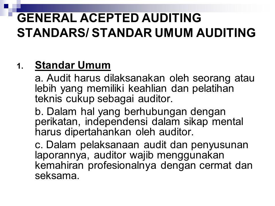 GENERAL ACEPTED AUDITING STANDARS/ STANDAR UMUM AUDITING 1.