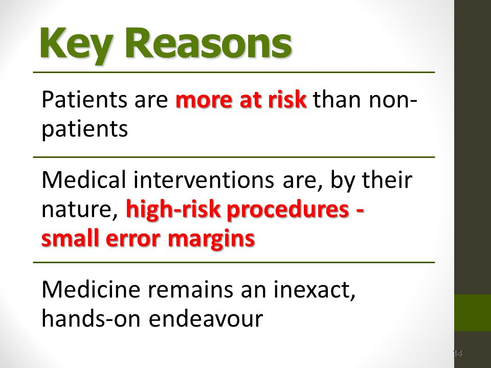 14 Key Reasons more at risk Patients are more at risk than non- patients high-risk procedures - small error margins Medical interventions are, by their nature, high-risk procedures - small error margins Medicine remains an inexact, hands-on endeavour