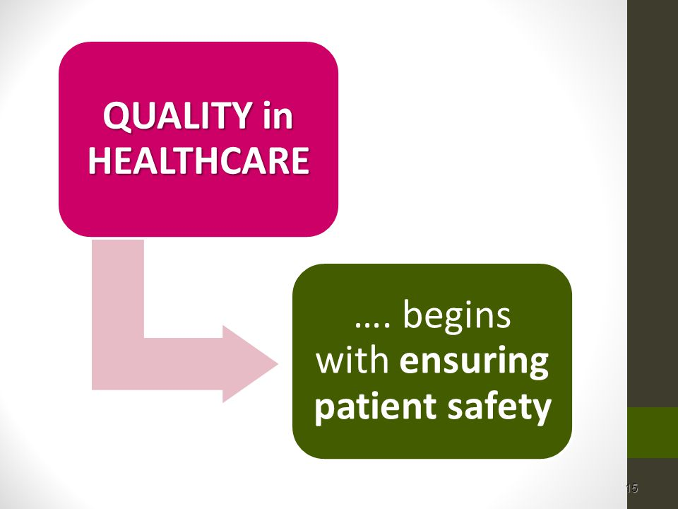 15 QUALITY in HEALTHCARE …. begins with ensuring patient safety