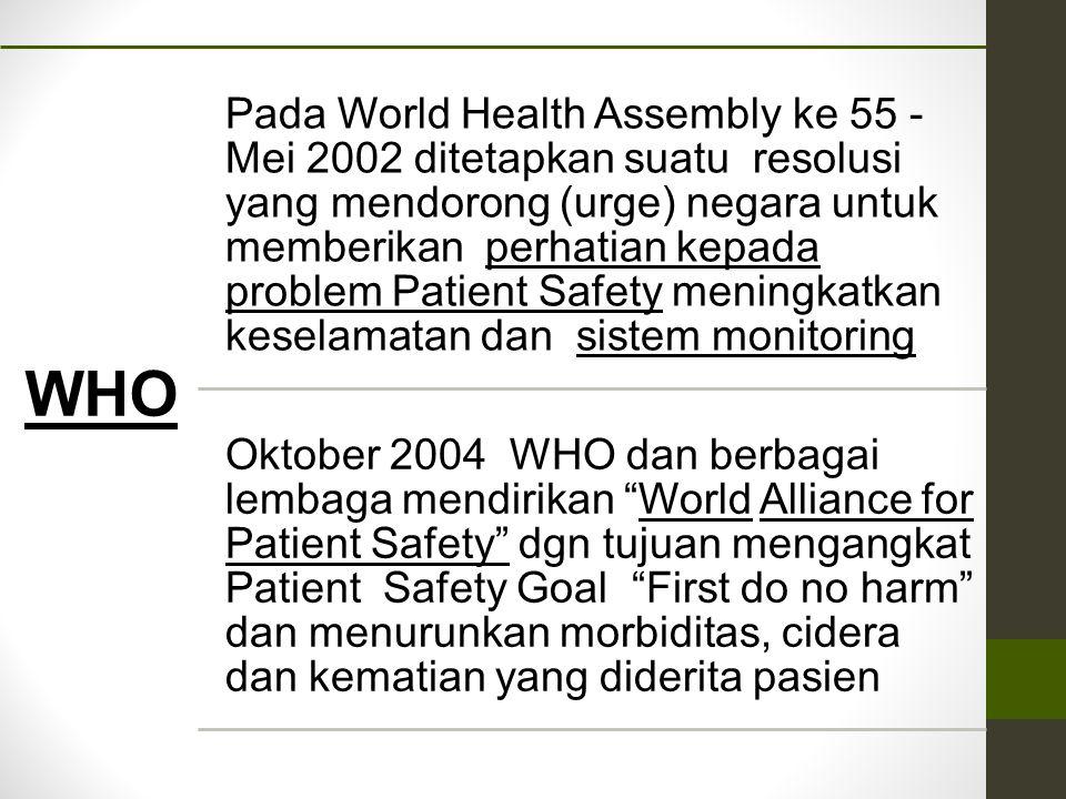 WHO Pada World Health Assembly ke 55 - Mei 2002 ditetapkan suatu resolusi yang mendorong (urge) negara untuk memberikan perhatian kepada problem Patie