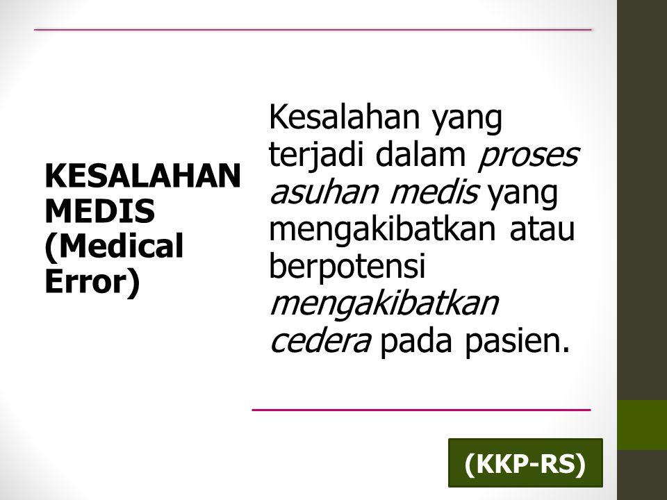 KESALAHAN MEDIS (Medical Error) Kesalahan yang terjadi dalam proses asuhan medis yang mengakibatkan atau berpotensi mengakibatkan cedera pada pasien.