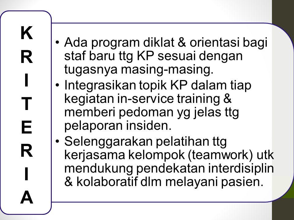 Ada program diklat & orientasi bagi staf baru ttg KP sesuai dengan tugasnya masing-masing. Integrasikan topik KP dalam tiap kegiatan in-service traini