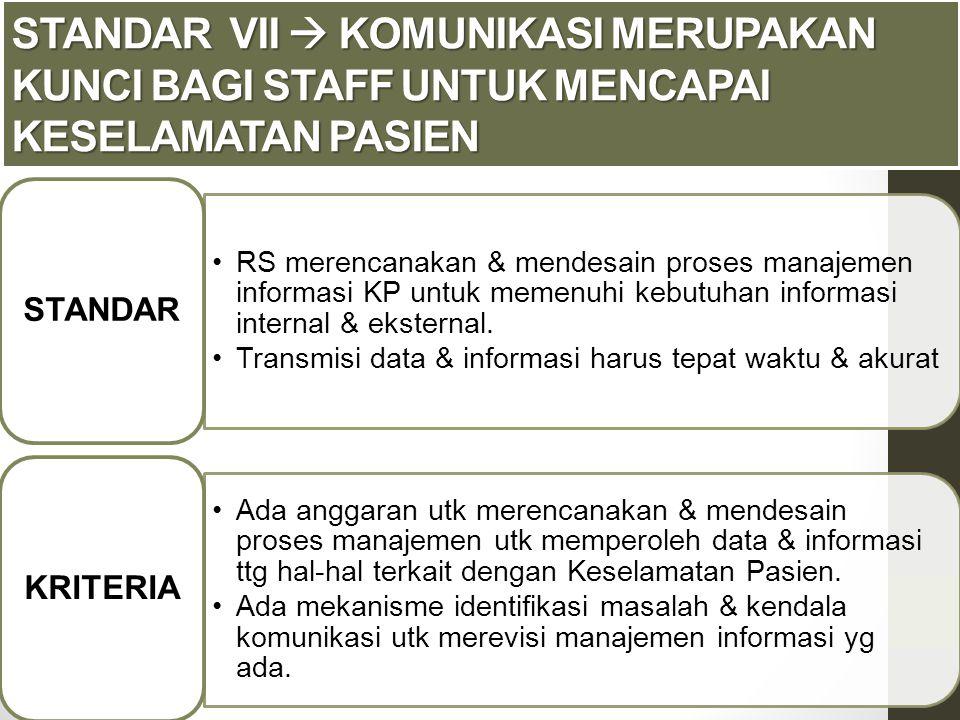 RS merencanakan & mendesain proses manajemen informasi KP untuk memenuhi kebutuhan informasi internal & eksternal. Transmisi data & informasi harus te