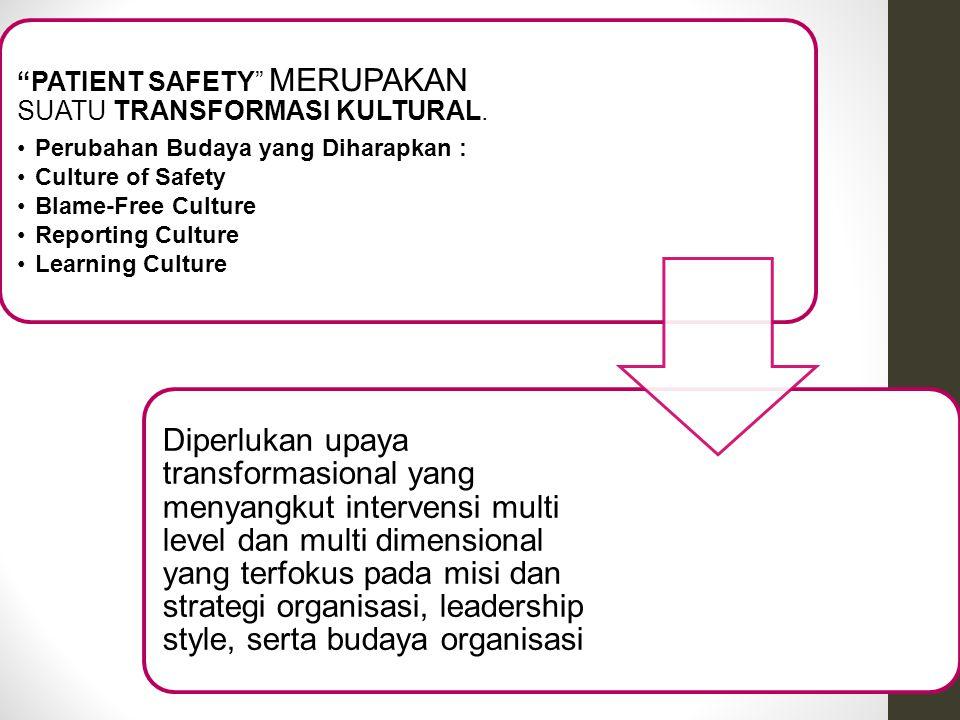 """""""PATIENT SAFETY"""" MERUPAKAN SUATU TRANSFORMASI KULTURAL. Perubahan Budaya yang Diharapkan : Culture of Safety Blame-Free Culture Reporting Culture Lear"""