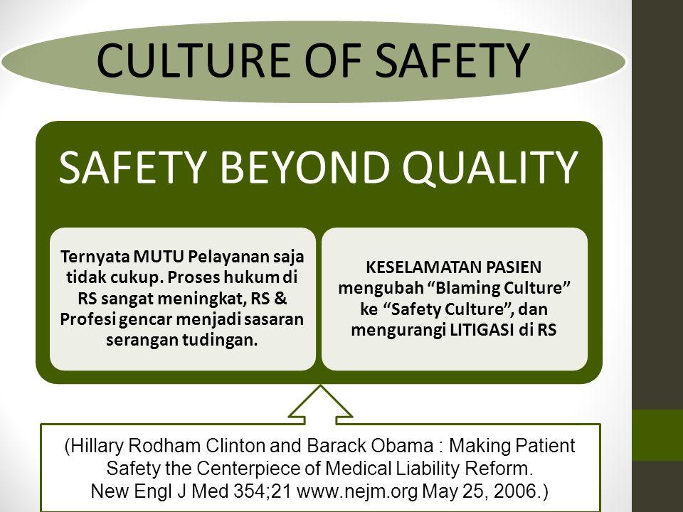 CULTURE OF SAFETY SAFETY BEYOND QUALITY Ternyata MUTU Pelayanan saja tidak cukup. Proses hukum di RS sangat meningkat, RS & Profesi gencar menjadi sas