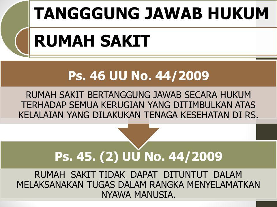 TANGGGUNG JAWAB HUKUM RUMAH SAKIT Ps. 45. (2) UU No. 44/2009 RUMAH SAKIT TIDAK DAPAT DITUNTUT DALAM MELAKSANAKAN TUGAS DALAM RANGKA MENYELAMATKAN NYAW