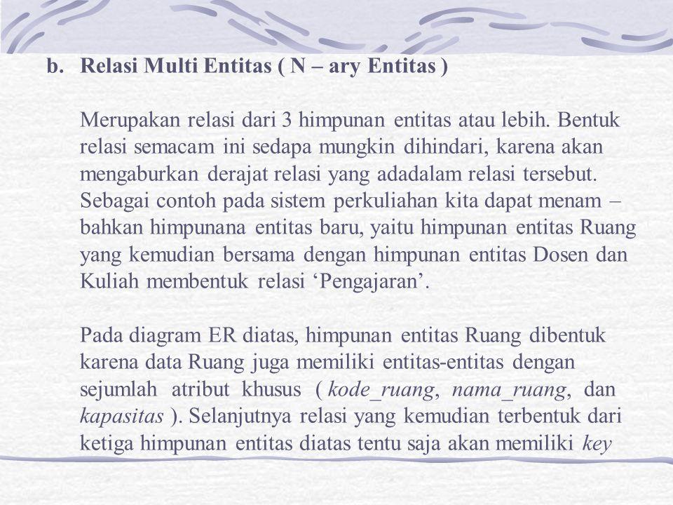b.Relasi Multi Entitas ( N – ary Entitas ) Merupakan relasi dari 3 himpunan entitas atau lebih.
