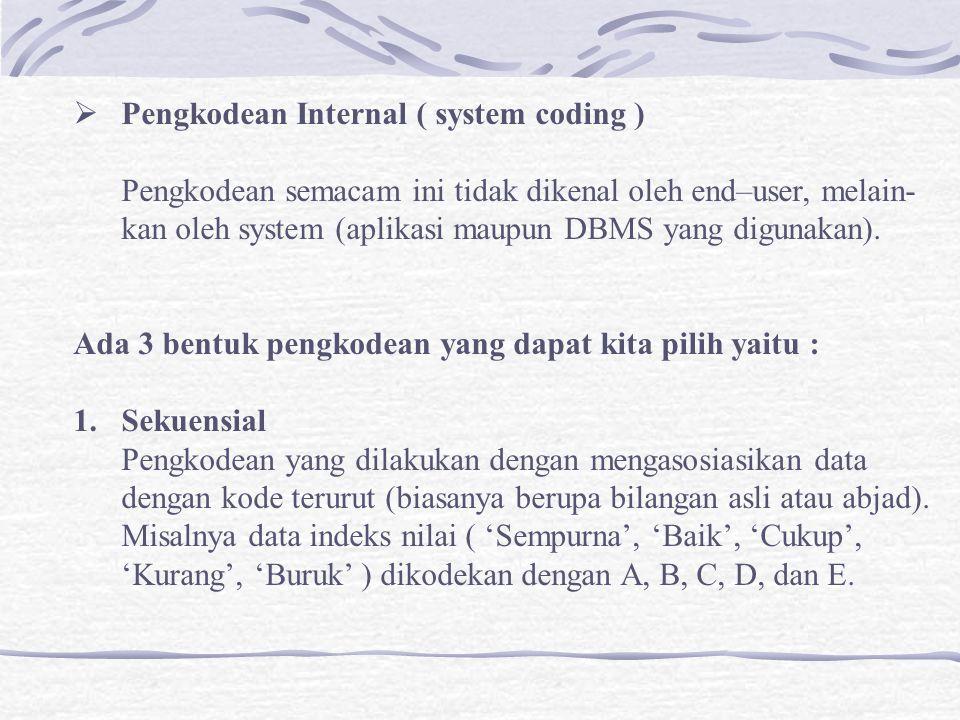  Pengkodean Internal ( system coding ) Pengkodean semacam ini tidak dikenal oleh end–user, melain- kan oleh system (aplikasi maupun DBMS yang digunakan).