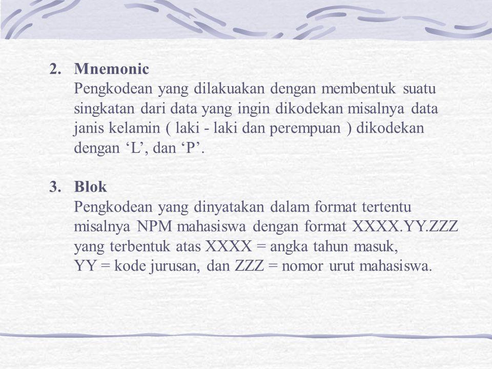 2.Mnemonic Pengkodean yang dilakuakan dengan membentuk suatu singkatan dari data yang ingin dikodekan misalnya data janis kelamin ( laki - laki dan perempuan ) dikodekan dengan 'L', dan 'P'.