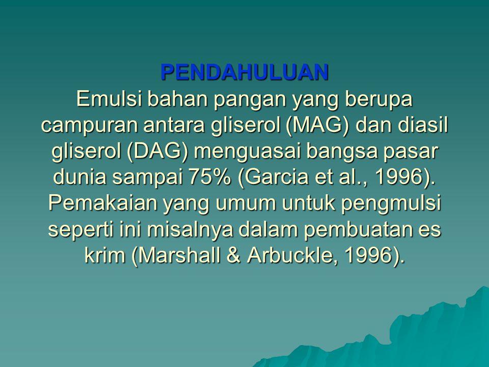 PENDAHULUAN Emulsi bahan pangan yang berupa campuran antara gliserol (MAG) dan diasil gliserol (DAG) menguasai bangsa pasar dunia sampai 75% (Garcia et al., 1996).