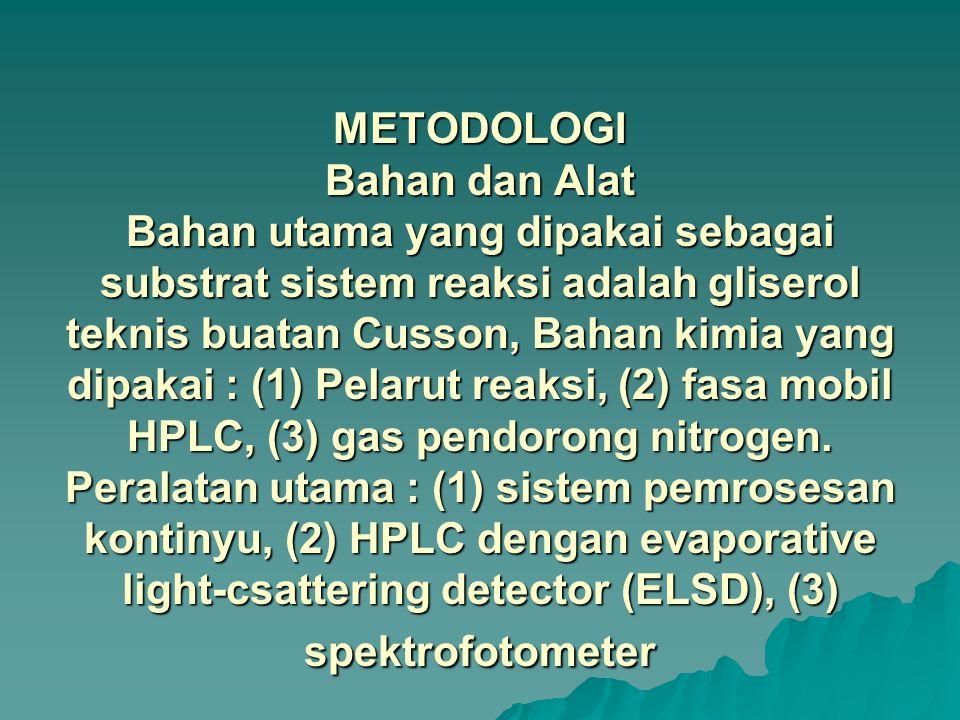 METODOLOGI Bahan dan Alat Bahan utama yang dipakai sebagai substrat sistem reaksi adalah gliserol teknis buatan Cusson, Bahan kimia yang dipakai : (1) Pelarut reaksi, (2) fasa mobil HPLC, (3) gas pendorong nitrogen.