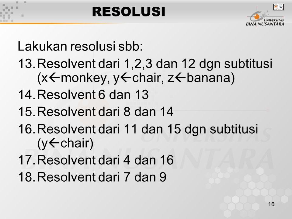 16 RESOLUSI Lakukan resolusi sbb: 13.Resolvent dari 1,2,3 dan 12 dgn subtitusi (x  monkey, y  chair, z  banana) 14.Resolvent 6 dan 13 15.Resolvent
