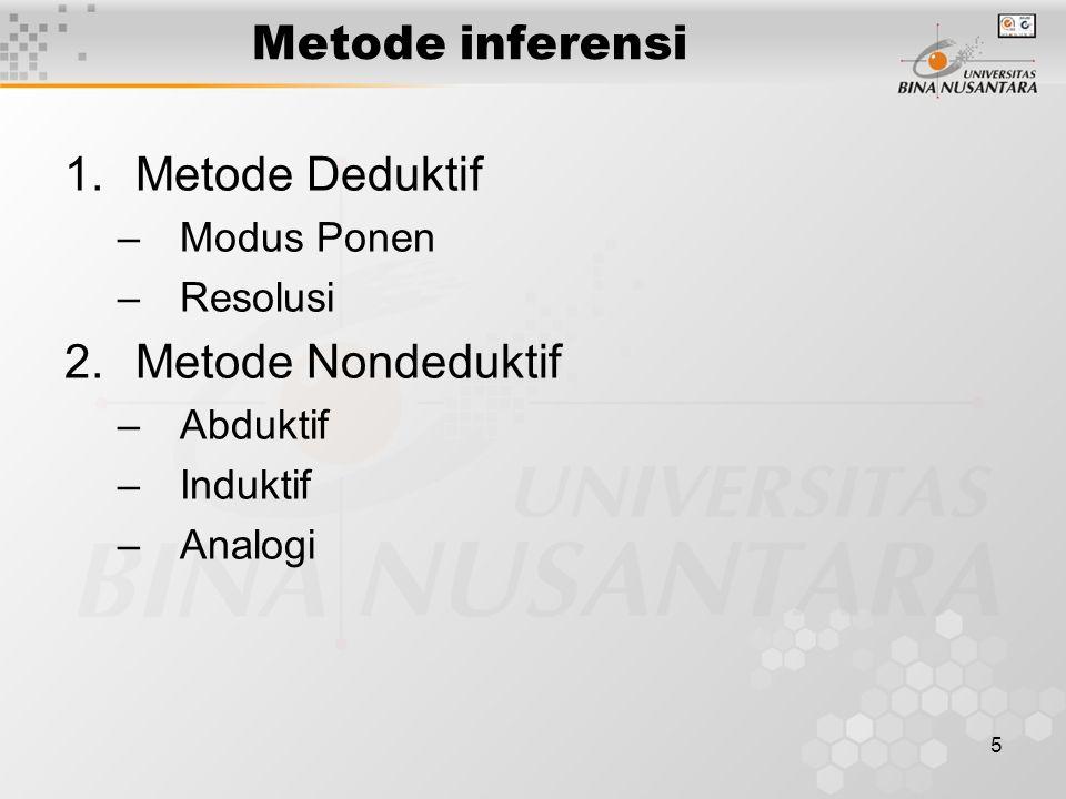 5 Metode inferensi 1.Metode Deduktif –Modus Ponen –Resolusi 2.Metode Nondeduktif –Abduktif –Induktif –Analogi