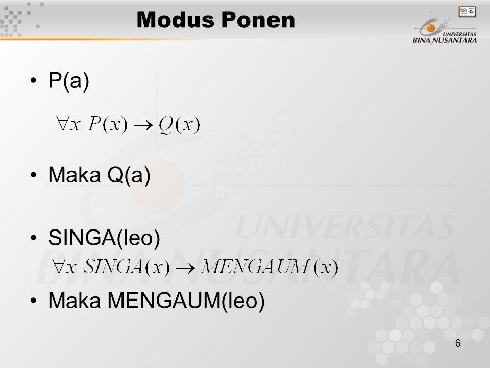 6 Modus Ponen P(a) Maka Q(a) SINGA(leo) Maka MENGAUM(leo)