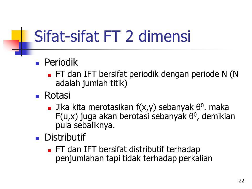 22 Sifat-sifat FT 2 dimensi Periodik FT dan IFT bersifat periodik dengan periode N (N adalah jumlah titik) Rotasi Jika kita merotasikan f(x,y) sebanya