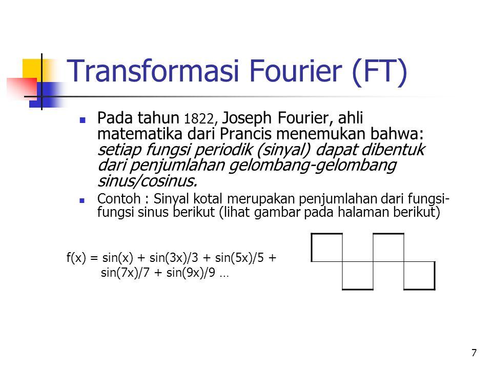 7 Transformasi Fourier (FT) Pada tahun 1822, Joseph Fourier, ahli matematika dari Prancis menemukan bahwa: setiap fungsi periodik (sinyal) dapat diben