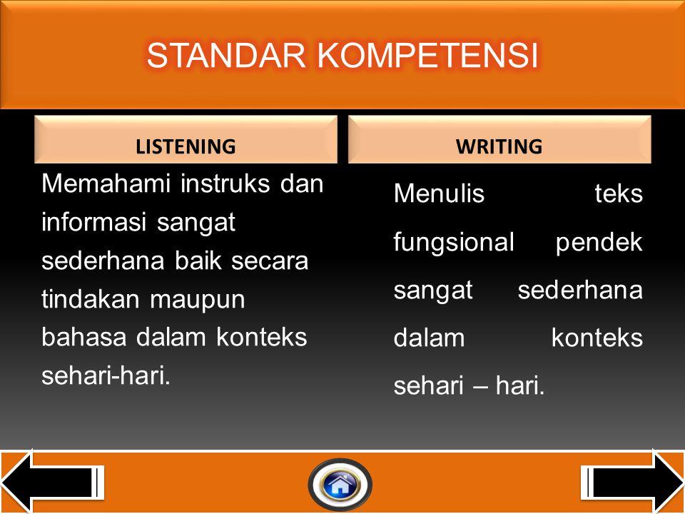 LISTENING Memahami instruks dan informasi sangat sederhana baik secara tindakan maupun bahasa dalam konteks sehari-hari.