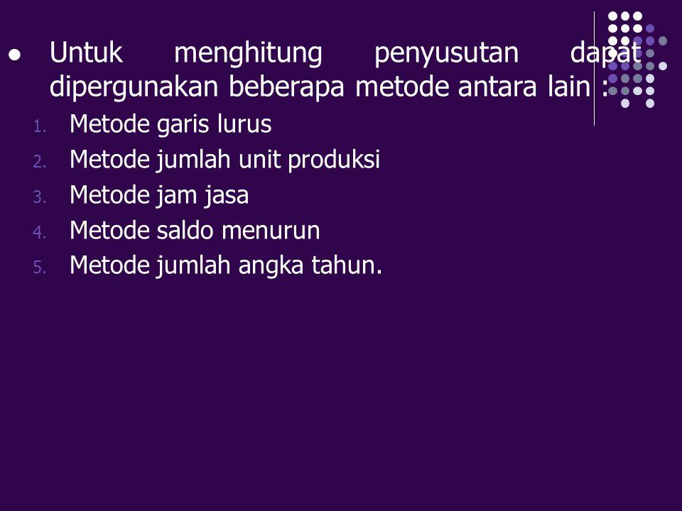 METODE GARIS LURUS Metode paling sederhana Untuk menghitung penyusutan aktiva tetap : Harga perolehan – Taksiran nilai residu Penyusutan per th:----------------------------------------------------- Umur kegunaan