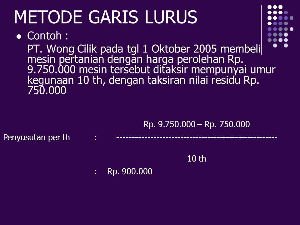 METODE GARIS LURUS Contoh : PT. Wong Cilik pada tgl 1 Oktober 2005 membeli mesin pertanian dengan harga perolehan Rp. 9.750.000 mesin tersebut ditaksi