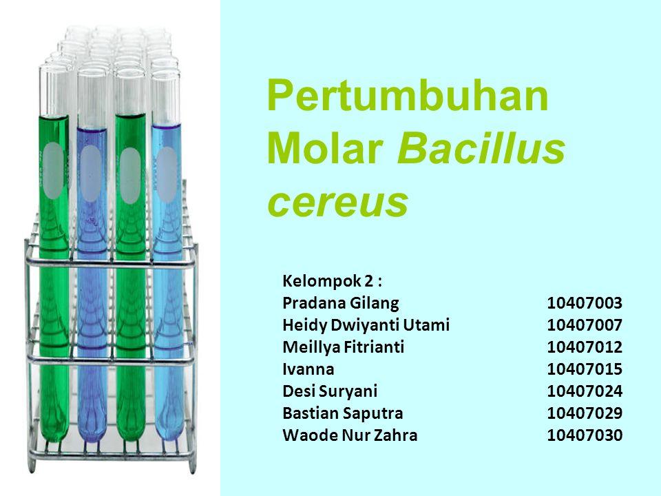 Pertumbuhan Molar Bacillus cereus Kelompok 2 : Pradana Gilang10407003 Heidy Dwiyanti Utami 10407007 Meillya Fitrianti10407012 Ivanna 10407015 Desi Sur