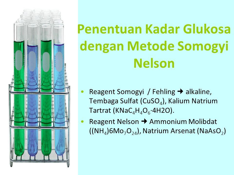Penentuan Kadar Glukosa dengan Metode Somogyi Nelson Reagent Somogyi / Fehling alkaline, Tembaga Sulfat (CuSO 4 ), Kalium Natrium Tartrat (KNaC 4 H 4