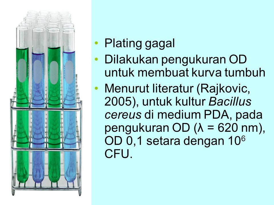 Plating gagal Dilakukan pengukuran OD untuk membuat kurva tumbuh Menurut literatur (Rajkovic, 2005), untuk kultur Bacillus cereus di medium PDA, pada