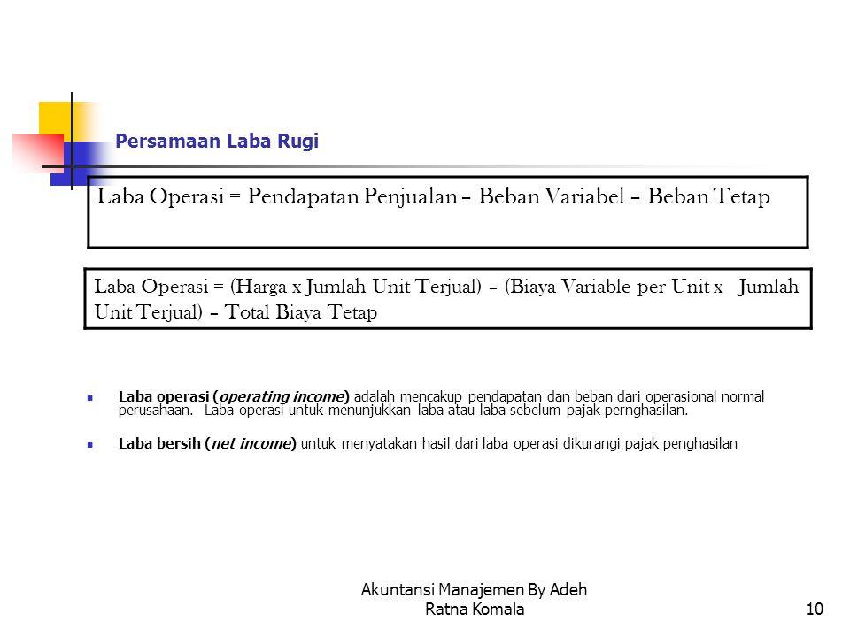 Akuntansi Manajemen By Adeh Ratna Komala10 Persamaan Laba Rugi Laba operasi (operating income) adalah mencakup pendapatan dan beban dari operasional n