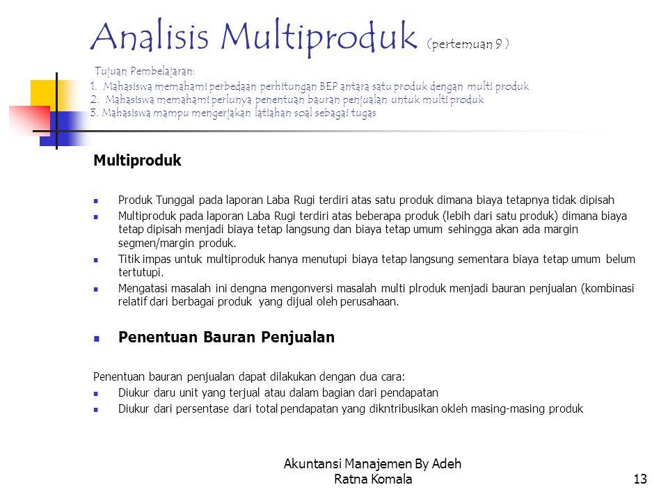 Akuntansi Manajemen By Adeh Ratna Komala13 Analisis Multiproduk (pertemuan 9 ) Tujuan Pembelajaran: 1. Mahasiswa memahami perbedaan perhitungan BEP an