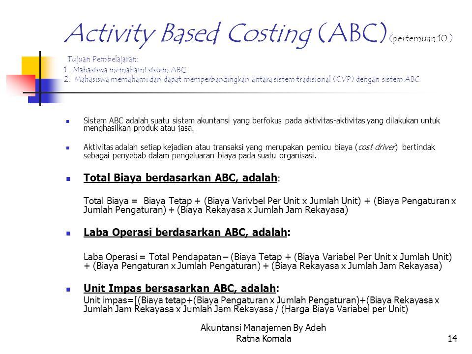 Akuntansi Manajemen By Adeh Ratna Komala14 Activity Based Costing (ABC) (pertemuan 10 ) Tujuan Pembelajaran: 1. Mahasiswa memahami sistem ABC 2. Mahas
