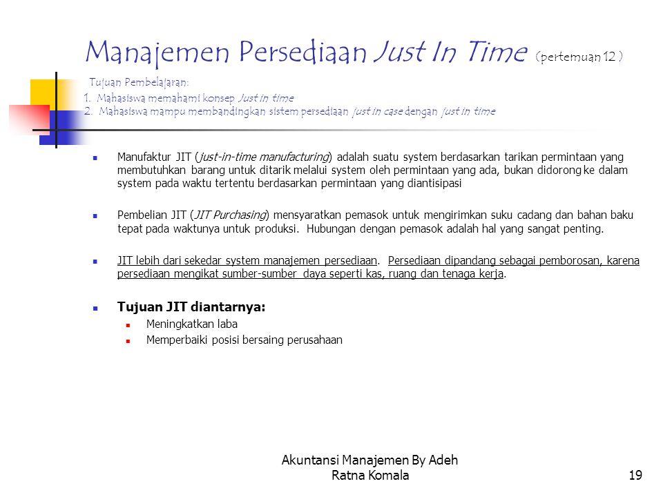 Akuntansi Manajemen By Adeh Ratna Komala19 Manajemen Persediaan Just In Time (pertemuan 12 ) Tujuan Pembelajaran: 1. Mahasiswa memahami konsep Just in