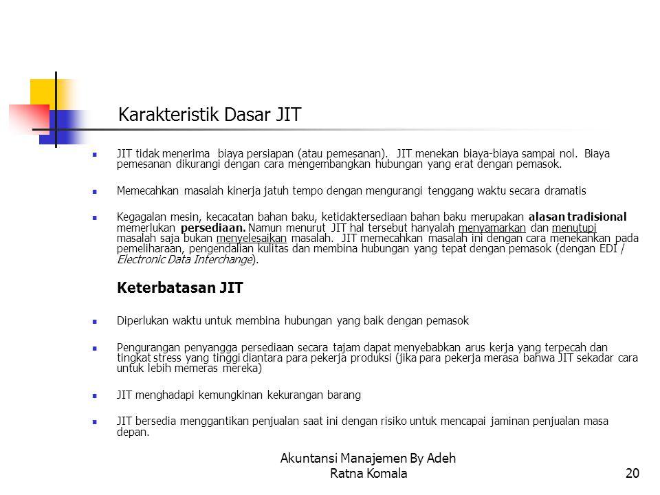Akuntansi Manajemen By Adeh Ratna Komala20 Karakteristik Dasar JIT JIT tidak menerima biaya persiapan (atau pemesanan). JIT menekan biaya-biaya sampai