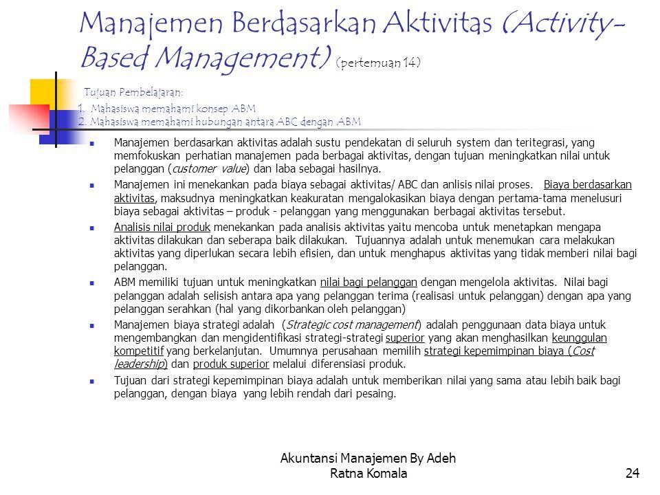 Akuntansi Manajemen By Adeh Ratna Komala24 Manajemen Berdasarkan Aktivitas (Activity- Based Management) (pertemuan 14) Tujuan Pembelajaran: 1. Mahasis