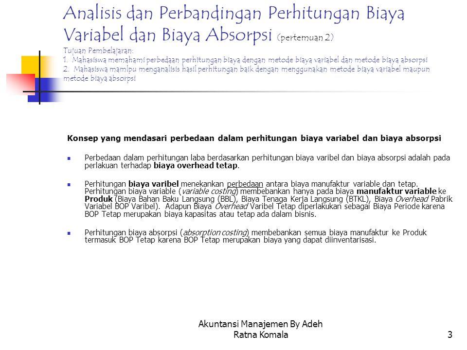 Akuntansi Manajemen By Adeh Ratna Komala4 Format laporan Laba Rugi dengan Metode Biaya Variabel dan Metode Biaya Absorpsi LABA RUGI Metode Biaya Varibel LABA RUGI Metode Biaya Absorpsi PENJUALAN xxxx Dikurangi: Harga Pokok Penjualan Varibel xxxx B.