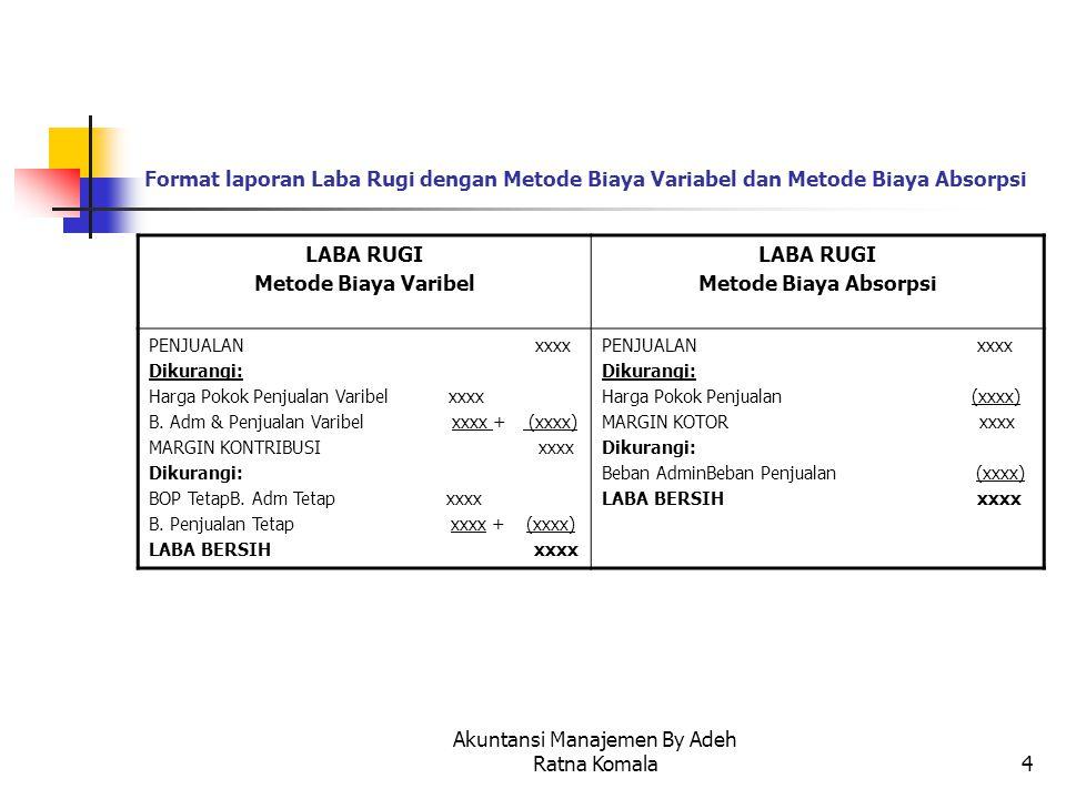 Akuntansi Manajemen By Adeh Ratna Komala4 Format laporan Laba Rugi dengan Metode Biaya Variabel dan Metode Biaya Absorpsi LABA RUGI Metode Biaya Varib