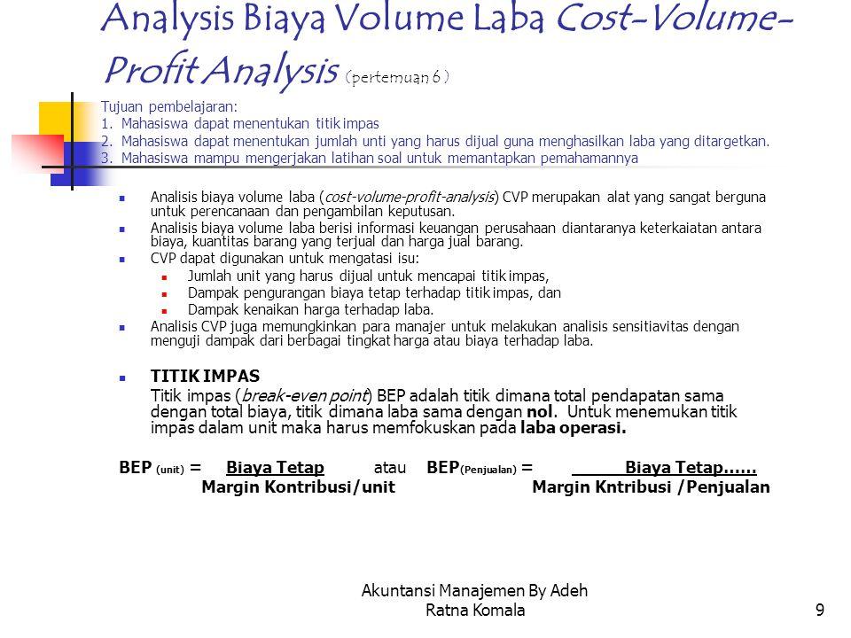 Akuntansi Manajemen By Adeh Ratna Komala9 Analysis Biaya Volume Laba Cost-Volume- Profit Analysis (pertemuan 6 ) Tujuan pembelajaran: 1. Mahasiswa dap
