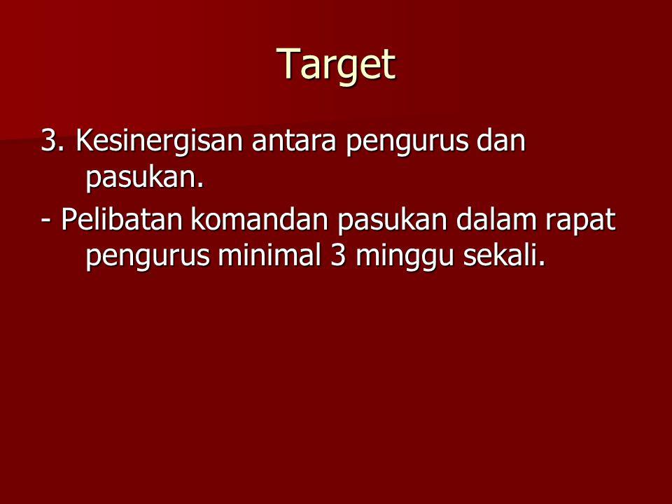 Target 3. Kesinergisan antara pengurus dan pasukan. - Pelibatan komandan pasukan dalam rapat pengurus minimal 3 minggu sekali.