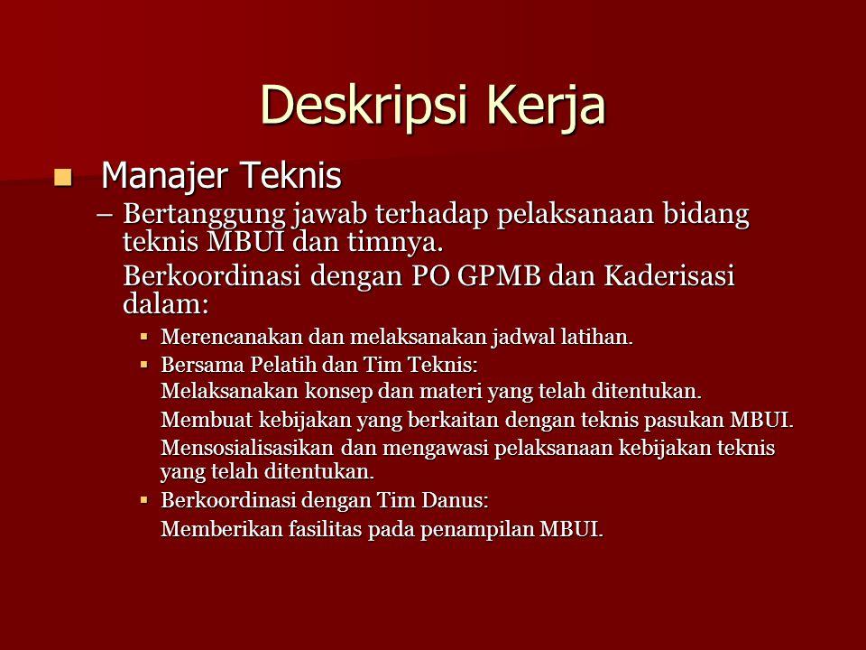 Deskripsi Kerja Manajer Teknis Manajer Teknis –Bertanggung jawab terhadap pelaksanaan bidang teknis MBUI dan timnya. Berkoordinasi dengan PO GPMB dan