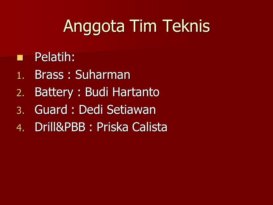 Anggota Tim Teknis Pelatih: Pelatih: 1. Brass : Suharman 2. Battery : Budi Hartanto 3. Guard : Dedi Setiawan 4. Drill&PBB : Priska Calista