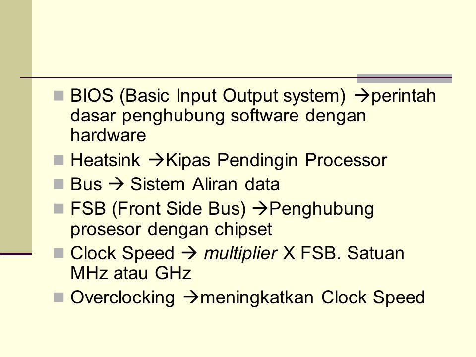 BIOS (Basic Input Output system)  perintah dasar penghubung software dengan hardware Heatsink  Kipas Pendingin Processor Bus  Sistem Aliran data FS