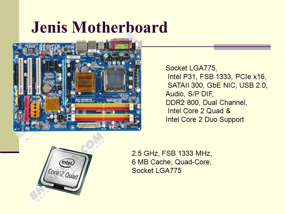 BIOS (Basic Input Output system)  perintah dasar penghubung software dengan hardware Heatsink  Kipas Pendingin Processor Bus  Sistem Aliran data FSB (Front Side Bus)  Penghubung prosesor dengan chipset Clock Speed  multiplier X FSB.
