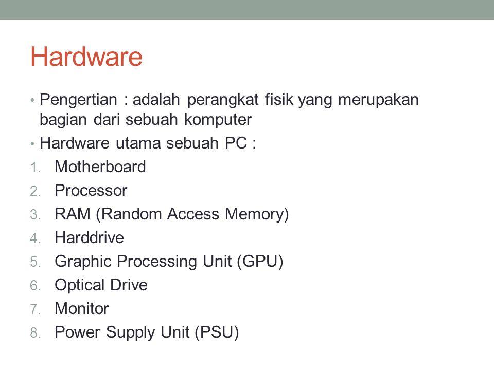 Hardware Pengertian : adalah perangkat fisik yang merupakan bagian dari sebuah komputer Hardware utama sebuah PC : 1. Motherboard 2. Processor 3. RAM